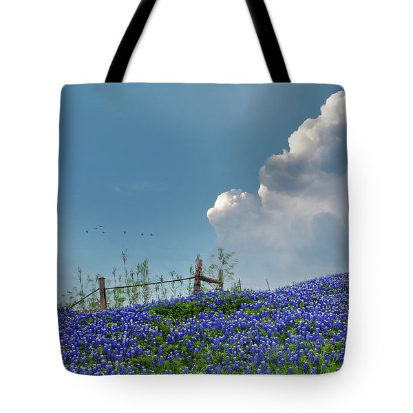 Tote Bag featuring the photograph Texas Bluebonnets And Spring Showers by David and Carol Kelly