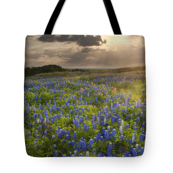 Texas Bluebonnets At Sunrise Tote Bag by Keith Kapple