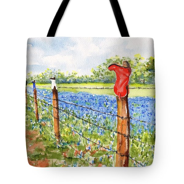Texas Bluebonnets Boot Fence Tote Bag