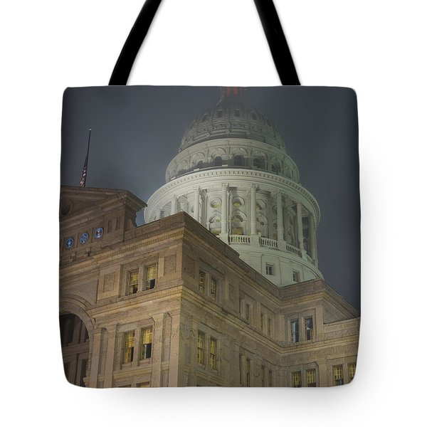 Texas Capitol In Fog Tote Bag