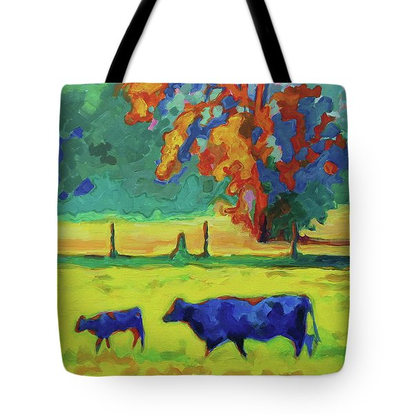Texas Cow And Calf At Sunset Print Bertram Poole Tote Bag by Thomas Bertram POOLE