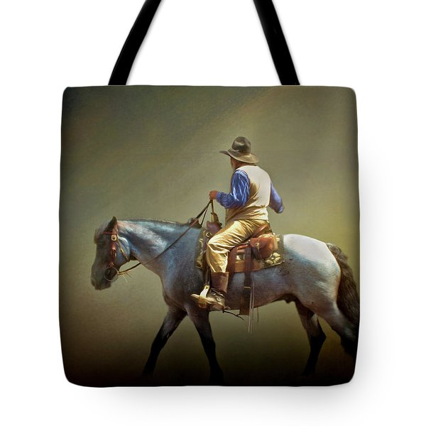 Tote Bag featuring the photograph Texas Cowboy And His Horse by David and Carol Kelly