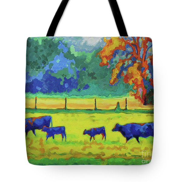 Texas Cows And Calves At Sunset Painting T Bertram Poole Tote Bag by Thomas Bertram POOLE