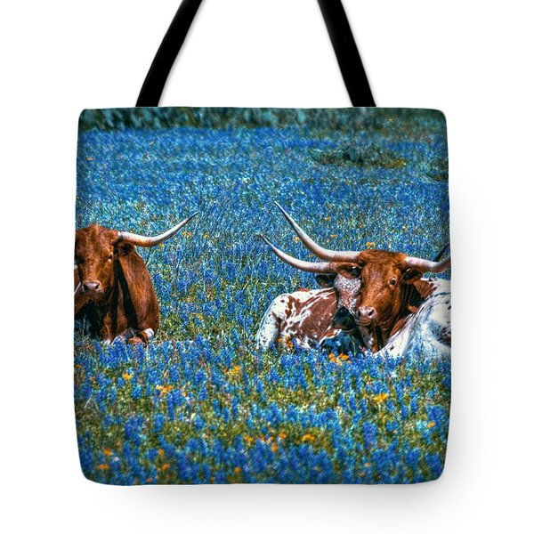 Texas In Blue Tote Bag
