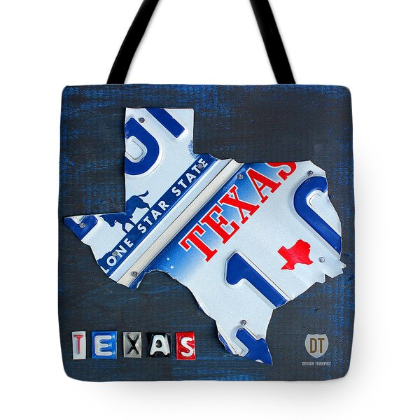 Texas License Plate Map Tote Bag by Design Turnpike