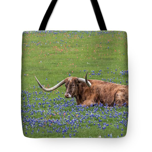Tote Bag featuring the photograph Texas Longhorn And Bluebonnets by Robert Bellomy