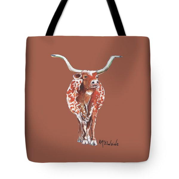 Texas Longhorn Taking The Lead Watercolor Painting By Kmcelwaine Tote Bag