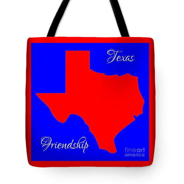 Texas Map In State Colors Blue White And Red With State Motto Friendship Tote Bag by Rose Santuci-Sofranko
