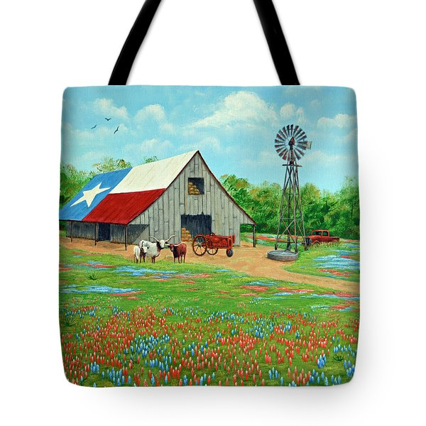 Texas Ranch Barn Tote Bag by Jimmie Bartlett