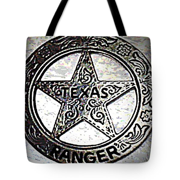 Tote Bag featuring the photograph Texas Ranger Badge by George Pedro