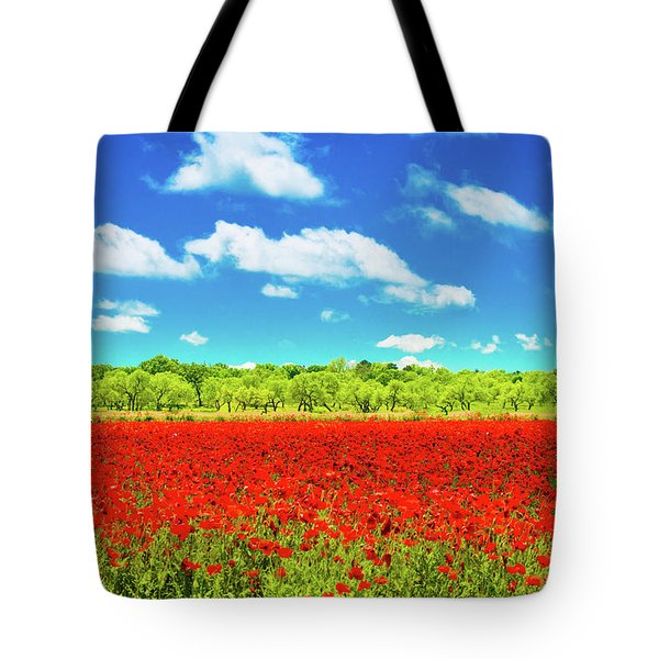 Texas Red Poppies Tote Bag
