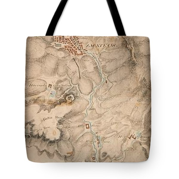 Texas Revolution Santa Anna 1835 Map For The Battle Of San Jacinto  Tote Bag by Peter Gumaer Ogden Collection