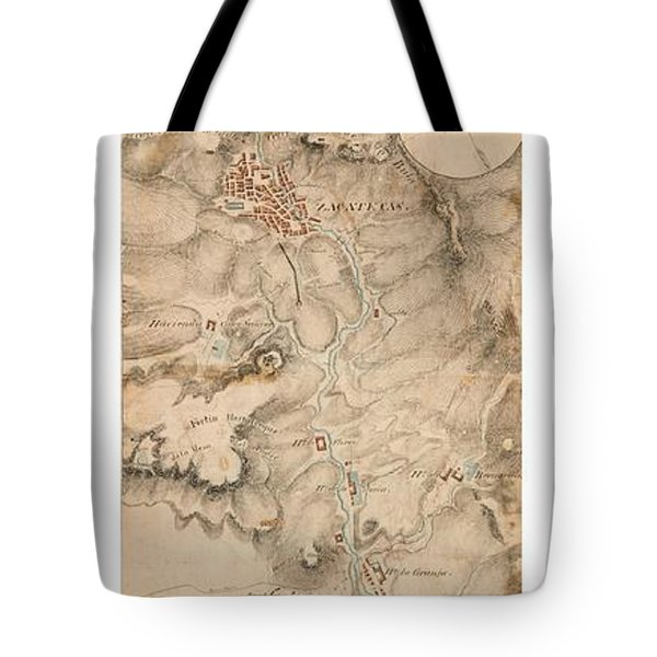 Tote Bag featuring the drawing Texas Revolution Santa Anna 1835 Map For The Battle Of San Jacinto With Border by Peter Gumaer Ogden