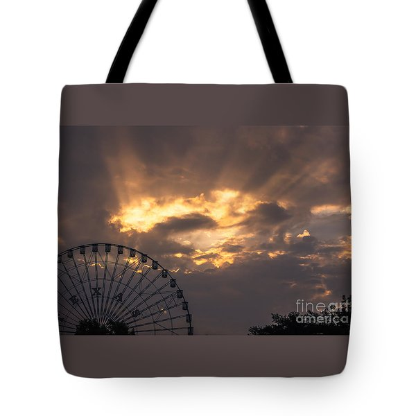 Texas Star Ferris Wheel And Sun Rays Tote Bag