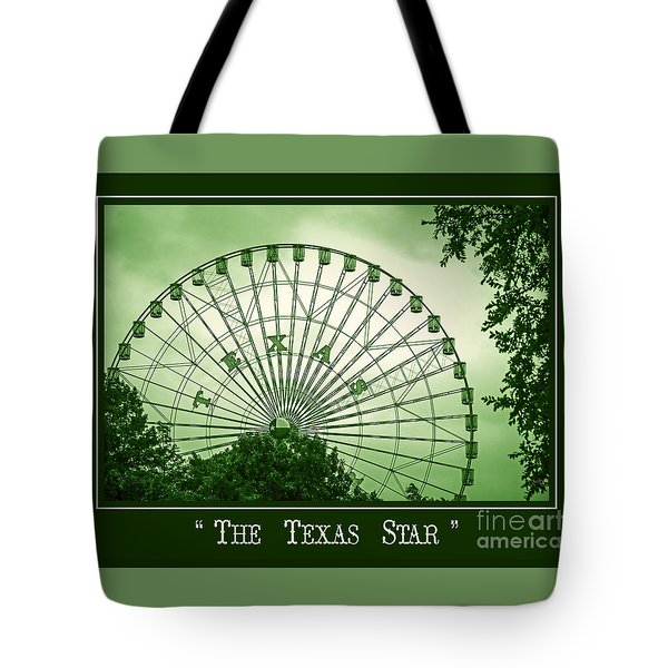 Texas Star In Green Tote Bag