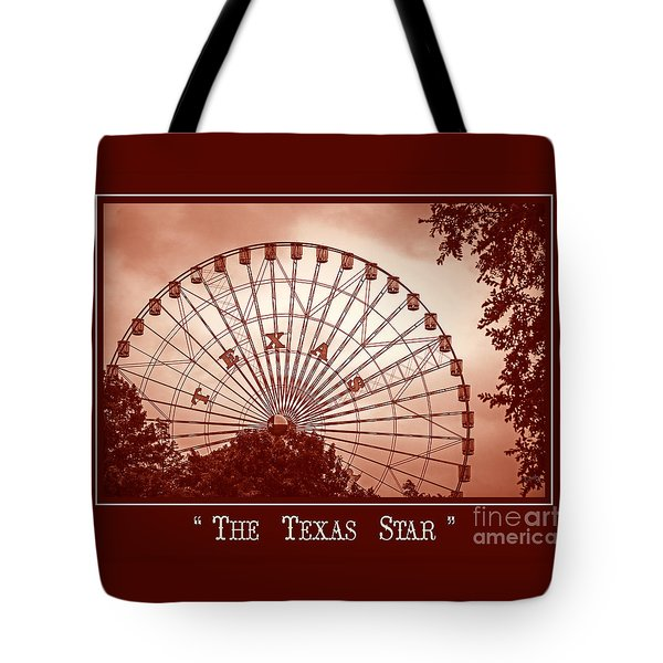 Texas Star In Orange Tote Bag