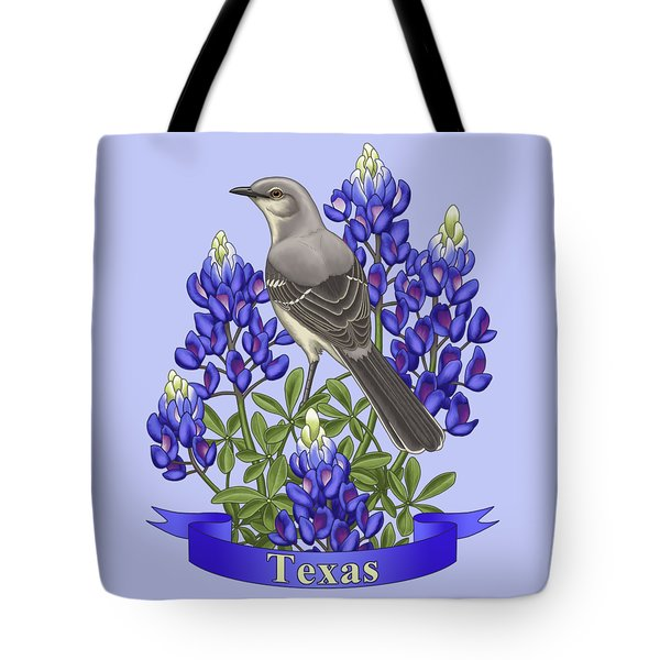 Texas State Mockingbird And Bluebonnet Flower Tote Bag