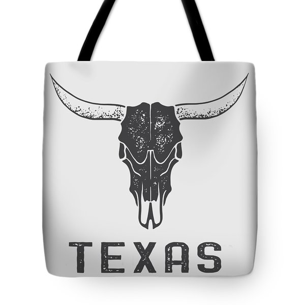 Tote Bag featuring the digital art Texas Steer Skull Tee by Edward Fielding