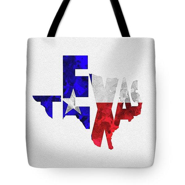 Texas Typographic Map Flag Tote Bag