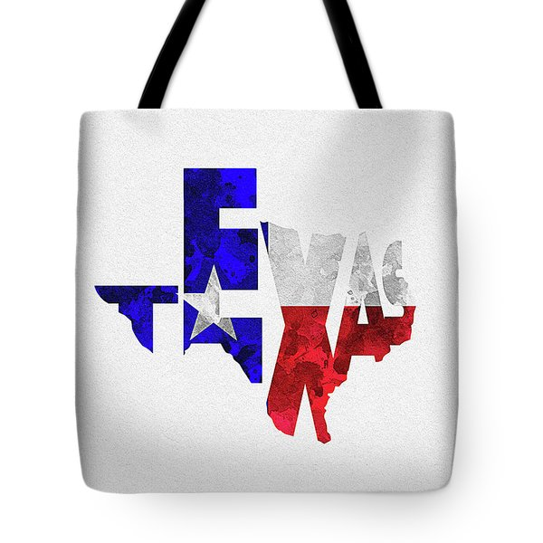 Texas Typographic Map Flag Tote Bag