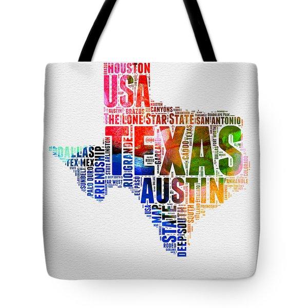 Texas Watercolor Word Cloud  Tote Bag