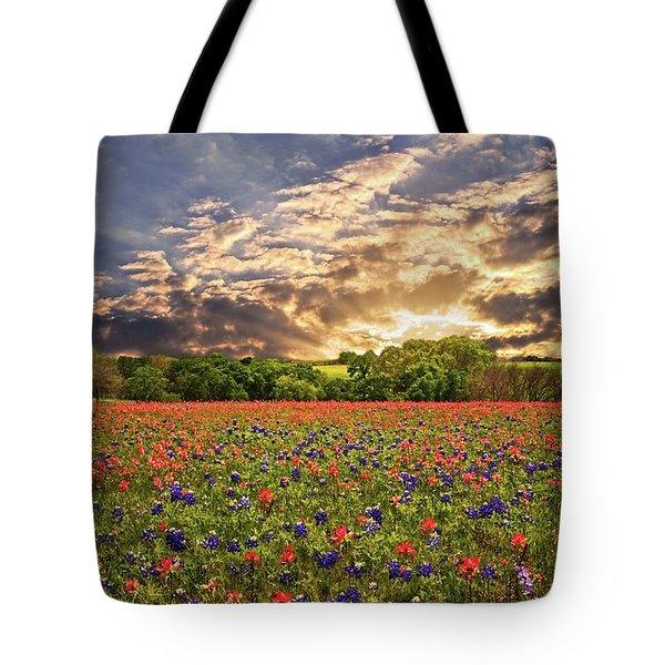 Texas Wildflowers Under Sunset Skies Tote Bag