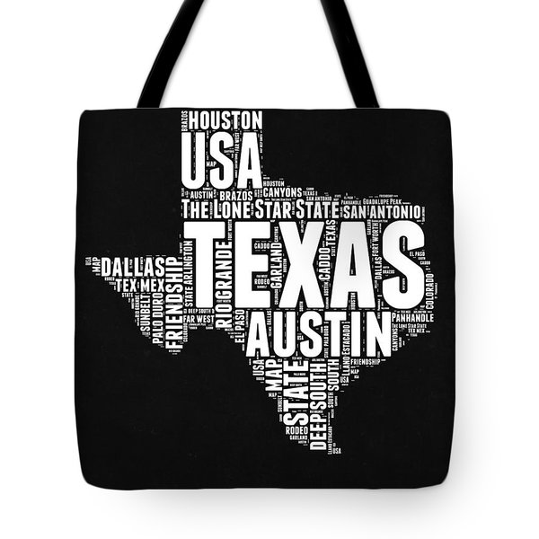 Texas Word Cloud Black And White Map Tote Bag by Naxart Studio