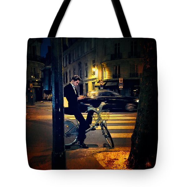 Texting Tote Bag by John Rivera