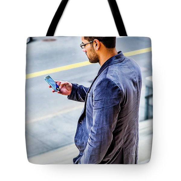 Man Texting Tote Bag