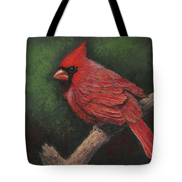 Textured Cardinal Tote Bag by Janet King
