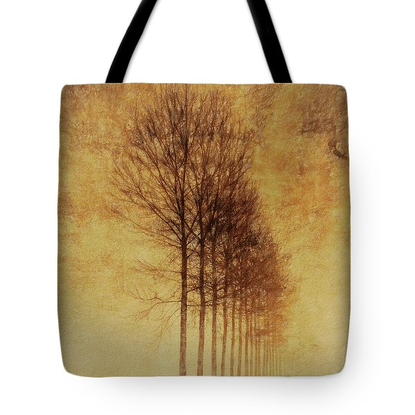 Tote Bag featuring the mixed media Textured Eerie Trees by Dan Sproul