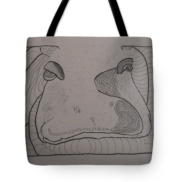 Textured Hippo Tote Bag by AJ Brown