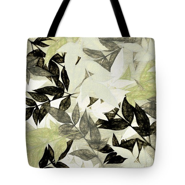 Tote Bag featuring the digital art Textured Leaves Abstract By Kaye Menner by Kaye Menner