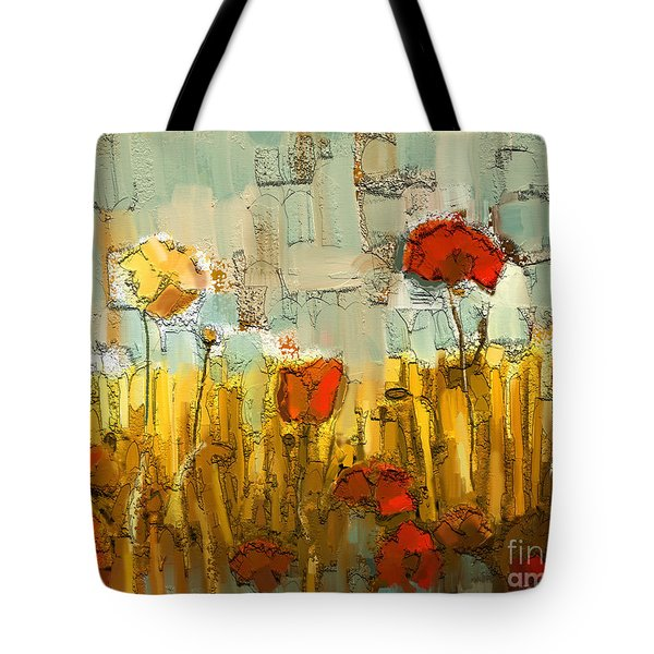 Tote Bag featuring the mixed media Textured Poppies by Carrie Joy Byrnes