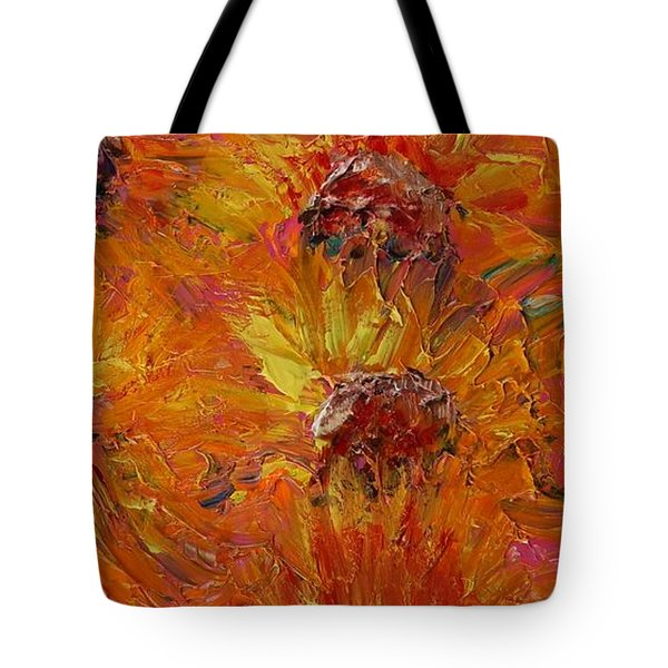 Textured Sunflowers Tote Bag by Nadine Rippelmeyer