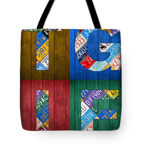 Tgif Thank Goodness Its Friday Recycled Vintage License Plate Art Letter Sign Tote Bag