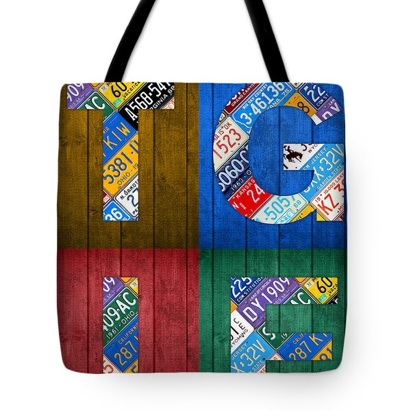 Tgif Thank Goodness Its Friday Recycled Vintage License Plate Art Letter Sign Tote Bag by Design Turnpike