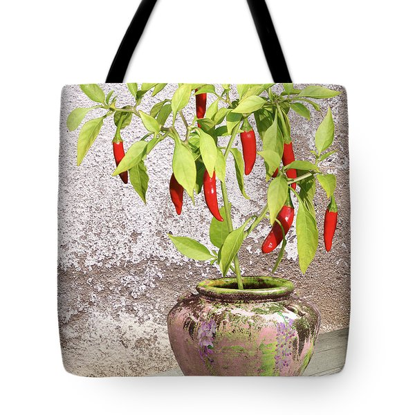 Thai Chili Plant In Pot Tote Bag