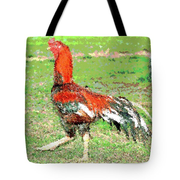 Tote Bag featuring the mixed media Thai Fighting Rooster by Charles Shoup
