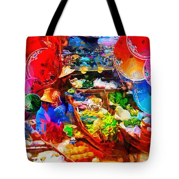 Thai Floating Market Tote Bag