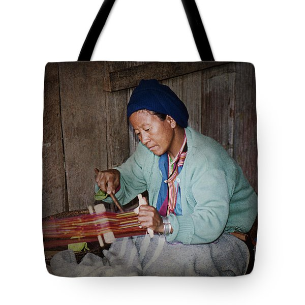 Tote Bag featuring the photograph Thai Weaving Tradition by Heiko Koehrer-Wagner