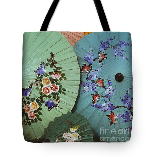 Thailand Parasols Abstract - Blue Thai  Parasols Tote Bag