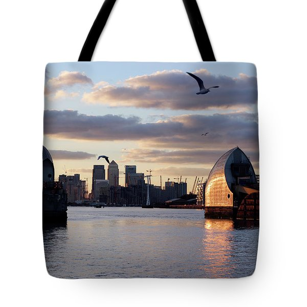 Thames Barrier And Seagulls Tote Bag