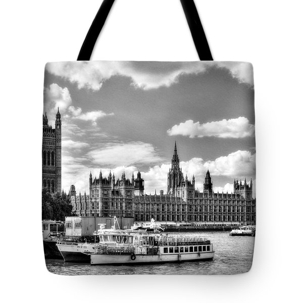 Tote Bag featuring the photograph Thames River In London Bw by Mel Steinhauer
