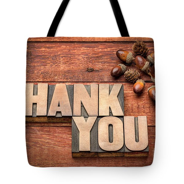 Than You Typography In Wood Type Tote Bag