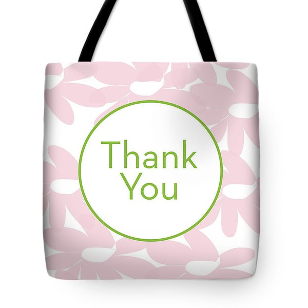 Thank You Card Pink Flowers- Art By Linda Woods Tote Bag