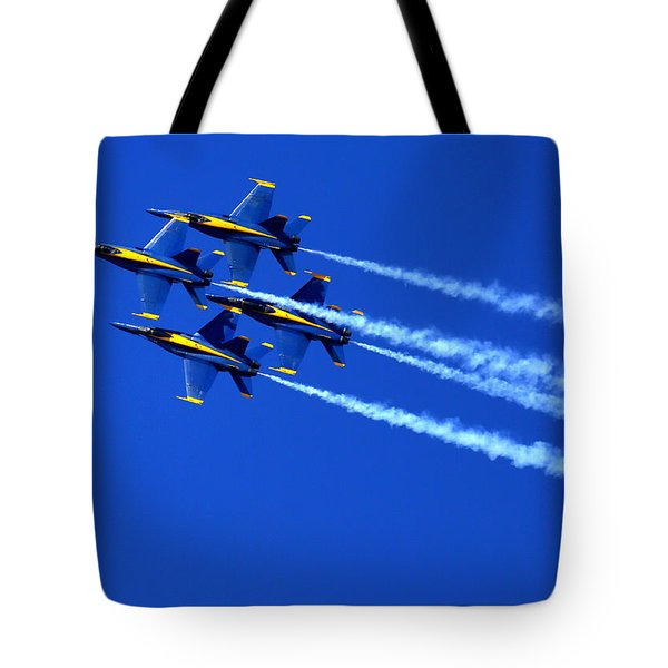 Thanks Goodness For That Fourth Dimension As A Boeing 767 Transitions Above The Box. Tote Bag