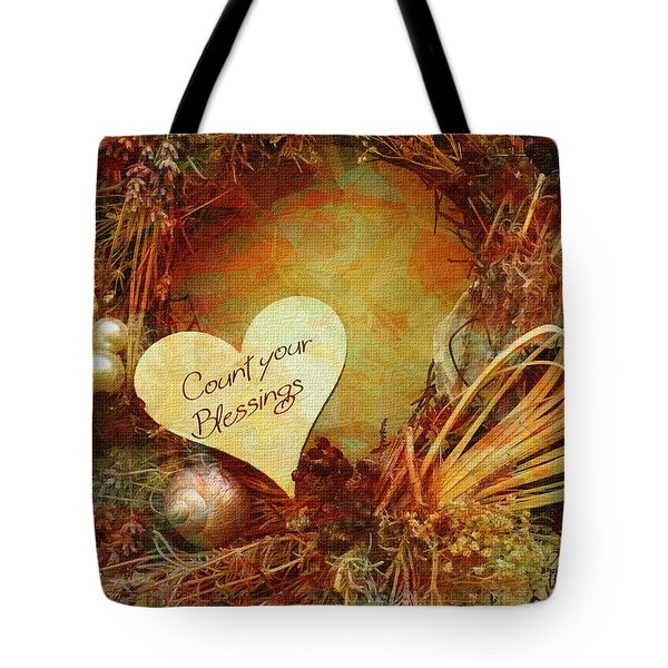 Tote Bag featuring the digital art Thanksgiving Card 2016 by Kathryn Strick