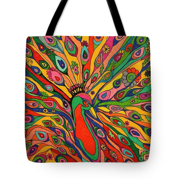 Tote Bag featuring the painting That Bloomin Peacock by Alison Caltrider