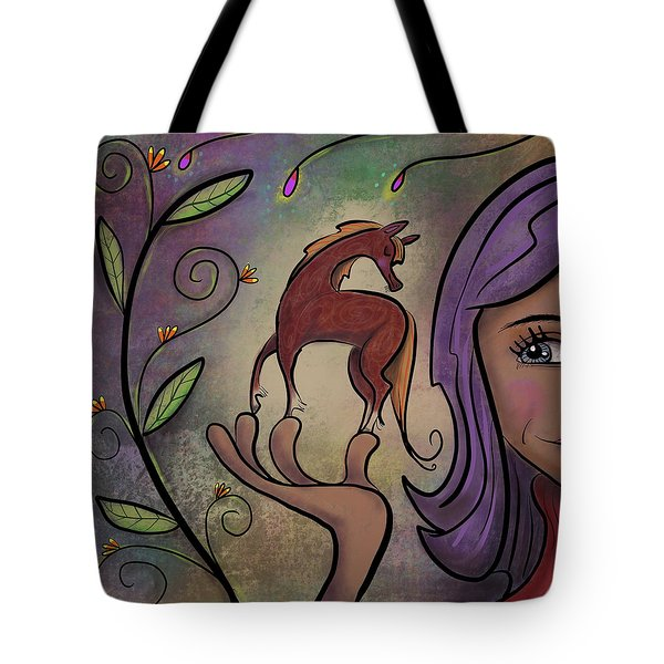 Tote Bag featuring the painting That Pony's A Hnadfull by Marti McGinnis